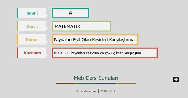 4.Sınıf Matematik Paydaları Eşit Kesirleri Karşılaştırma Sunusu