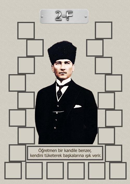 Model 15, 2F şubesi için Atatürk temalı, fotoğraf eklemeli kapı süslemesi - 22 öğrencilik