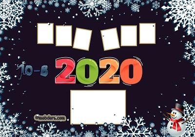 10B Sınıfı için 2020 Yeni Yıl Temalı Fotoğraflı Afiş (6 öğrencilik)