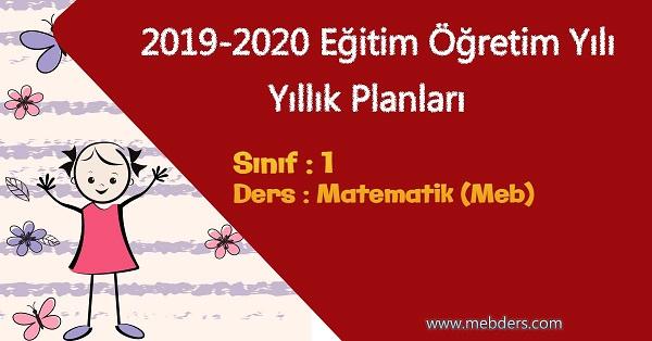 2019 - 2020 Yılı 1.Sınıf Matematik Yıllık Planı (MEB)