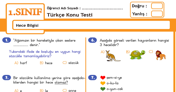1.Sınıf Türkçe Hece Bilgisi Konu Tarama Testi