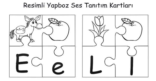 Resimli 4'lü yapzboz ses tanıtım kartları - 1.grup harfler