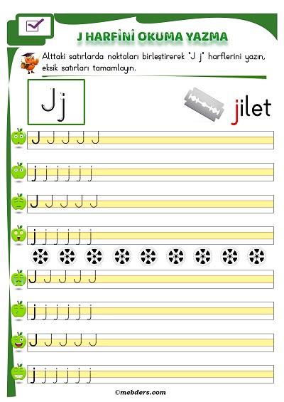 1.Sınıf İlkokuma J Sesi Okuma Yazma Etkinliği