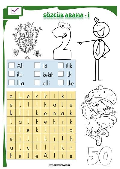 1.Sınıf İlkokuma Boyamalı Sözcük Arama Etkinliği - İ Sesi
