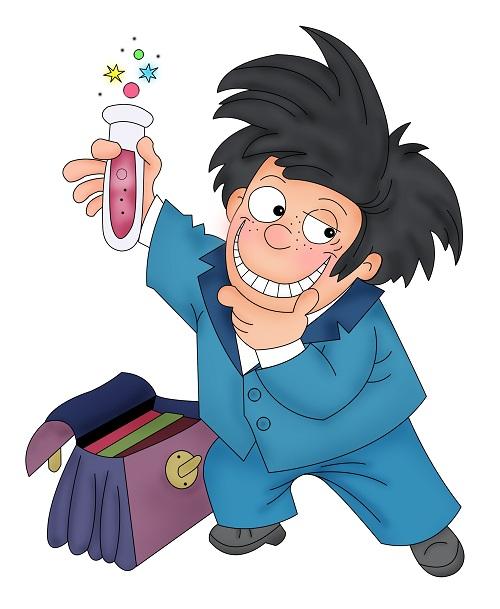 Clipart elinde deney tüpü tutan bilim adamı resmi png