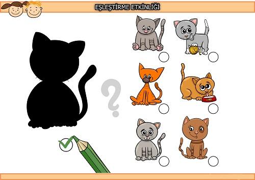 Şirin kedi gölgesi eşleştirme etkinliği