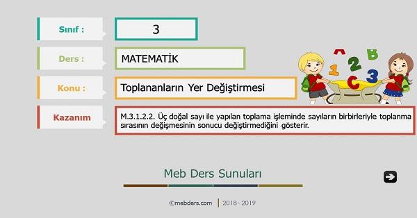 3.Sınıf Matematik Toplananların Yer Değiştirmesi Sunusu