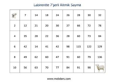 Labirentte 7'şerli Ritmik Sayma