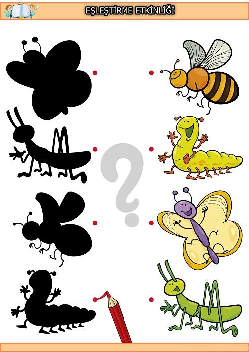 Sevimli böcek gölge eşleştirme etkinliği