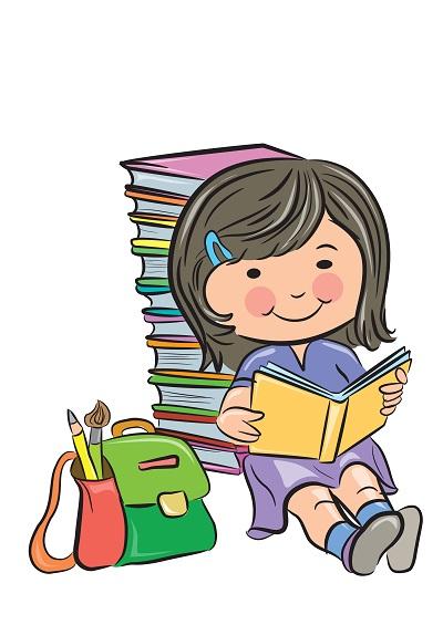 Clipart sırtını kitaplara dayayarak kitap okuyan kız çocuğu resmi png